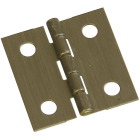 National 1 In. x 1 In. Antique Brass Hinge (2-Pack) Image 1