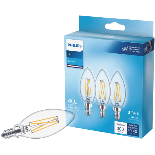 Philips 40W Equivalent Daylight B11 Candelabra Clear LED Decorative Light Bulb (3-Pack)